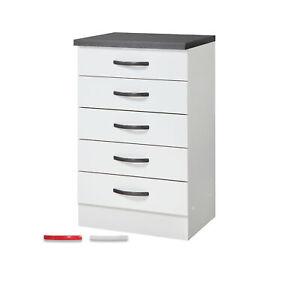 Unterschrank STEFFEN - Modulares Möbelystem - 5 Schubladen - 40 cm tief - Weiß