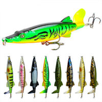 1PC Fishing Lure 16g 130mm Topwater Rotating Tail VMC Hooks Bass Fishing Bait