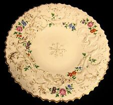 Gorgeous Antique Meissen Porcelain Floral Roses High Relief Gold Gilt Plate 1850