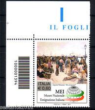 ITALIA 2011 MUSEO EMIGRAZIONE CODICE A  BARRE 1394 MNH** 199L ANGOLO LEGGI TESTO