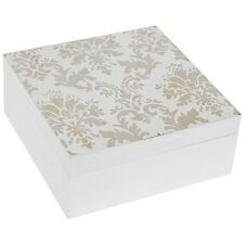 White Wooden Square Shabby Chic Jewellery Makeup Trinket Storage Box