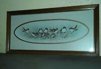 Long Framed Painting Print by Marge Marrow Birds Sparrows Flowers Nature Scene