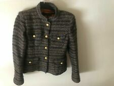 £ 10 Oferta ~ Zara Blogger detalle de botones de oro marrón/azul marino/azul estilo corto Chanel L