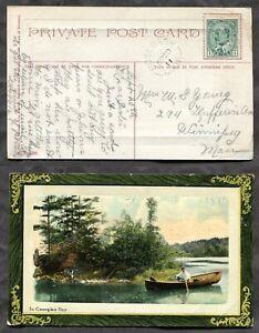 p1461 - ROSEBANK Manitoba 1911 Split Ring on Postcard to Winnipeg