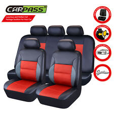 Universal Faux Leather Black Red Car Seat Covers For Car TRUCK SUV Interiors Set