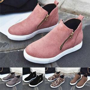 Womens Platform Hidden Wedge Heels Sneakers Zipper Breathable Shoes Comfort Size