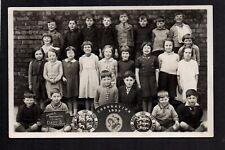Higher Broughton Council School Group 1937 - near Salford - RP postcard