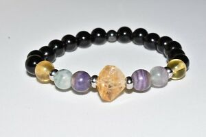Citrine Black Tourmaline Hematite Bracelet Rainbow Fluorite Crystal Healing Gift