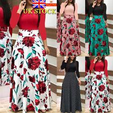 Women Retro Boho Floral Long Sleeve Maxi Long Dress Holiday Party Swing Dresses
