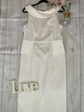 Next Size 16 tall long white smart races occasion dress built in shape wear VGC