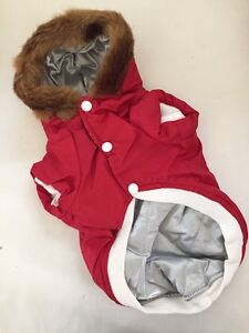Dog Cat Christmas Party Faux Fur Red Hooded Jacket For XS Size Pet