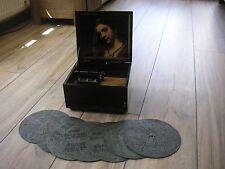"""Museal Orfeo caja de música placas 7 21,4cm reloj Antique Crank Music Box disc 8 1/4"""""""