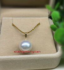 Australia Top quality REAL round WHITE 11-12MM SOUTH SEA PEARL Pendant 18K GOLD
