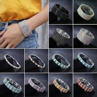 Fashion Women Silver Crystal Rhinestone Bangle Bracelet Wedding Bridal Jewellery