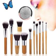 11Pcs Brow Brush Makeup Bamboo Handle Eyebrow Flat Angled Brush LG
