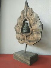 Wooden Bell Holder Bo Leaf Shaped Brass Home Decor Gift Vintage Style #2