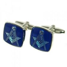 High Quality Blue Rhodium Plated Masonic with G Cufflinks