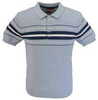 Merc Mens Tanner Sky Blue Knitted Polo Shirts