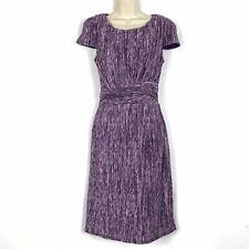 PER UNA M&S Size 14 UK Knitted Purple Mix Crinkle Occasion Stretch Pencil Dress