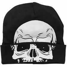Mens Knit Beanie Skull Skeleton Rolldown Hat Mask Halloween Snowboard Cap