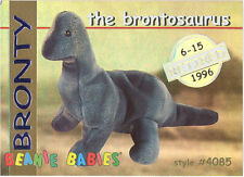 Ty Beanie Babies Bboc Card - Series 1 Retired (Gold) - Bronty the Brontosaurus