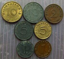 Genuine 7 different German coins, Third Reich period