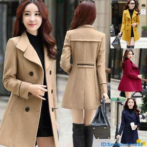 Women Winter Warm Woolen Coat Jacket Trench Coat Parka Overcoat Outwear Slim