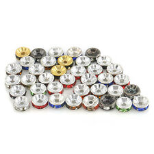 HOT 8mm Silver Plated Czech Crystal Spacer Rondelle Beads Charm Findings 50Pcs