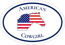 Cowgirl Decal - American Flag Horse American Cowgirl Vinyl Sticker- Horse Decal