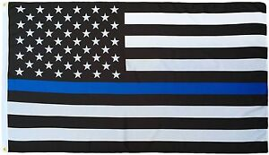 4x6 USA Police Thin Blue Line Memorial American 4ft x 6ft Flag Banner Polyester