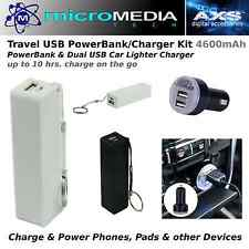 Travel USB PowerBank Charger Kit 4600mAh -Charge Phones, Pads, Devices on the go