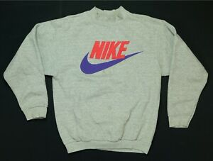 Rare Vintage NIKE Spell Out Swoosh Crewneck Sweatshirt 80s 90s Gray Tag Youth L