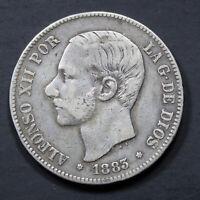 Pièce Argent Espagne 5 pesetas Alphonse XII 1883 Rouflaquettes Silver Coin Spain