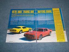 1970-81 Pontiac Trans Am Buyers Guide Info Article