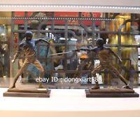 30 CM Western Art Deco Pure Bronze physical culture fencing swordplay Sculpture