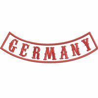 GERMANY AUFNÄHER Rückenaufnäher Bogen Rocker Biker Kutte MC 30cm weiß/rot/rot