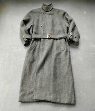 Vintage 1980s Ralph Lauren Polo Wool Tweed Trench Overcoat Coat USA made Rare