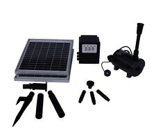 20W Solar Panel POND WATER FOUNTAIN Feature SOLAR PUMP Battery Timer LED 1550L