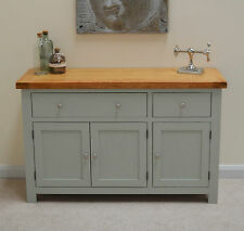 Camborne Painted Oak Large 3 Door Sideboard / Storage Dresser in Sea Green Sage