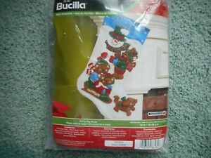 Bucilla felt stocking kit - Fun In The Snow - package opened, not used