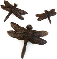 Set of Three Cast Iron Dragonfly Garden/Wall Decor