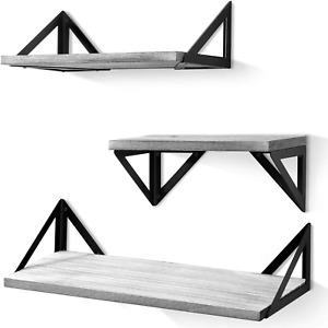Floating Shelves Wall Mounted, Rustic Wood Shelves Set of 3 Kitchen Gray