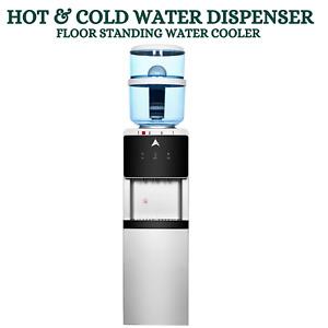 Hot & Cold  Water Cooler Dispenser Floor Standing 8 Stage Filter 20L BLK & SIL