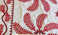 Red & White Hand Applique Princess Feather QUILT TOP - Incredible vine border