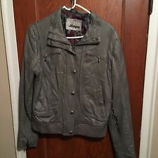 Guess Los Angeles 1981 Grey Womens Medium Distressed Ripped Hipster Jacket Small