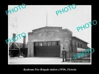 OLD LARGE HISTORIC PHOTO OF KYABRAM VICTORIA, VIEW OF FIRE BRIGADE STATION c1930
