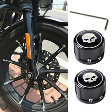 2pcs Aluminum Skull Front Axle Nut Cover Bolt Kit For Harley Touring Softail