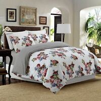 Reversible 4Pcs Duvet Set with Fitted Sheet Pillow Case 100% Cotton White - 902