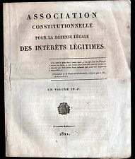 PARIS (II°) BUREAU de l'ASSOCIATION CONSTITUTIONNELLE pour DEFENSE INTERETS 1821