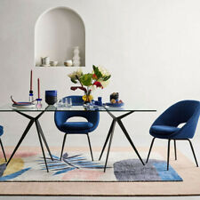 John Lewis and Partners Orb Dining Chair - Landscape Blue Linen RRP: £299
